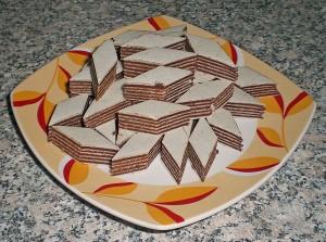 Schichtoblaten mit Schokolade
