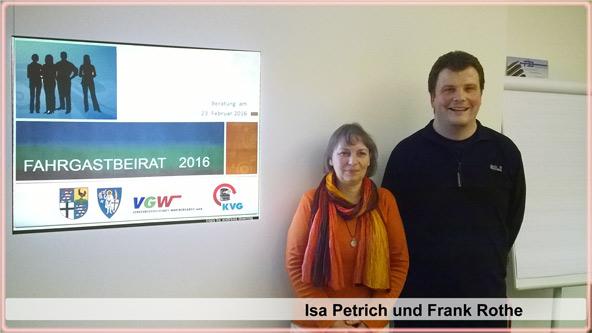 v.l.: Die Sprecher des Fahrgastbeirates Isa Petrich und Frank Rothe (SPD)