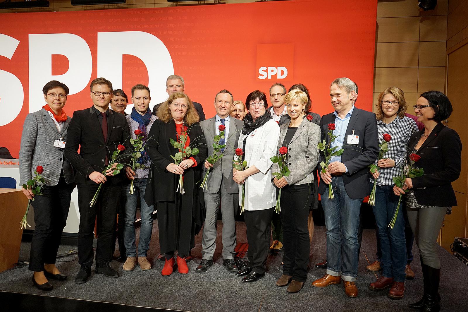 Der neu gewählte Landesvorstand der SPD Thüringen